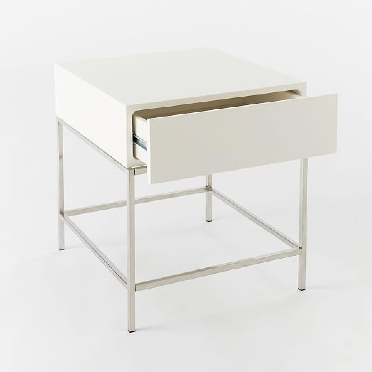 West elm white lacquer storage side table aptdeco west elm white lacquer storage side table 2 geotapseo Gallery