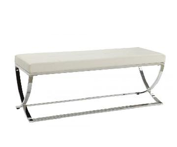 Bench In White Leatherette