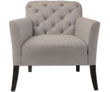 West Elm Tufted Gray Chair & Ottoman