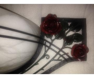 Doyle Art Deco Wall Sconce In Black Metal w/ Marble Inserts