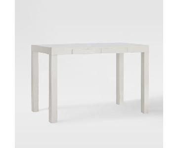 West Elm White Parsons desk