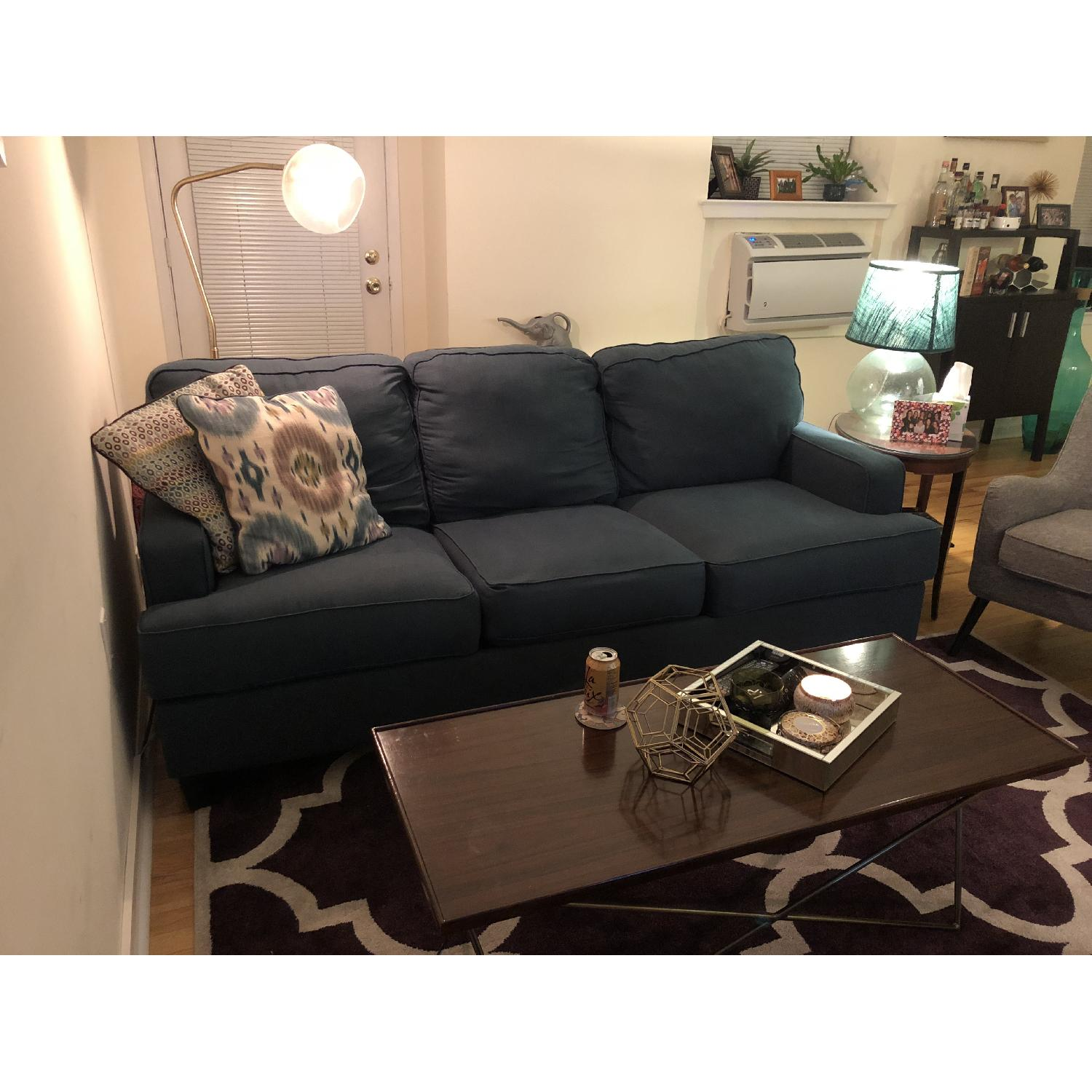 Teal Fabric Apartment-Sized Couch - AptDeco