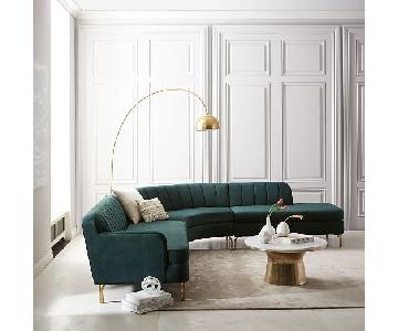 West Valencia 3 Piece Sectional Sofa in Forest Worn Velvet