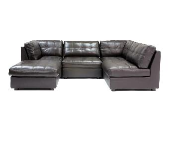 Abbyson Living 5 Piece Espresso Leather Sectional Sofa