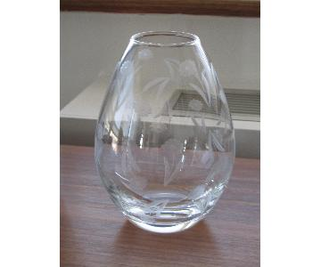 Crate & Barrel Crystal Etched Vase