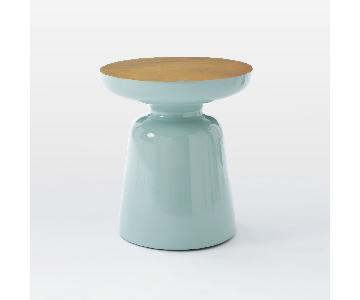 West Elm Brass Top Blue Green Martini Side Table