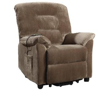 Power Lift Recliner Chair in Light Brown Velvet Fabric