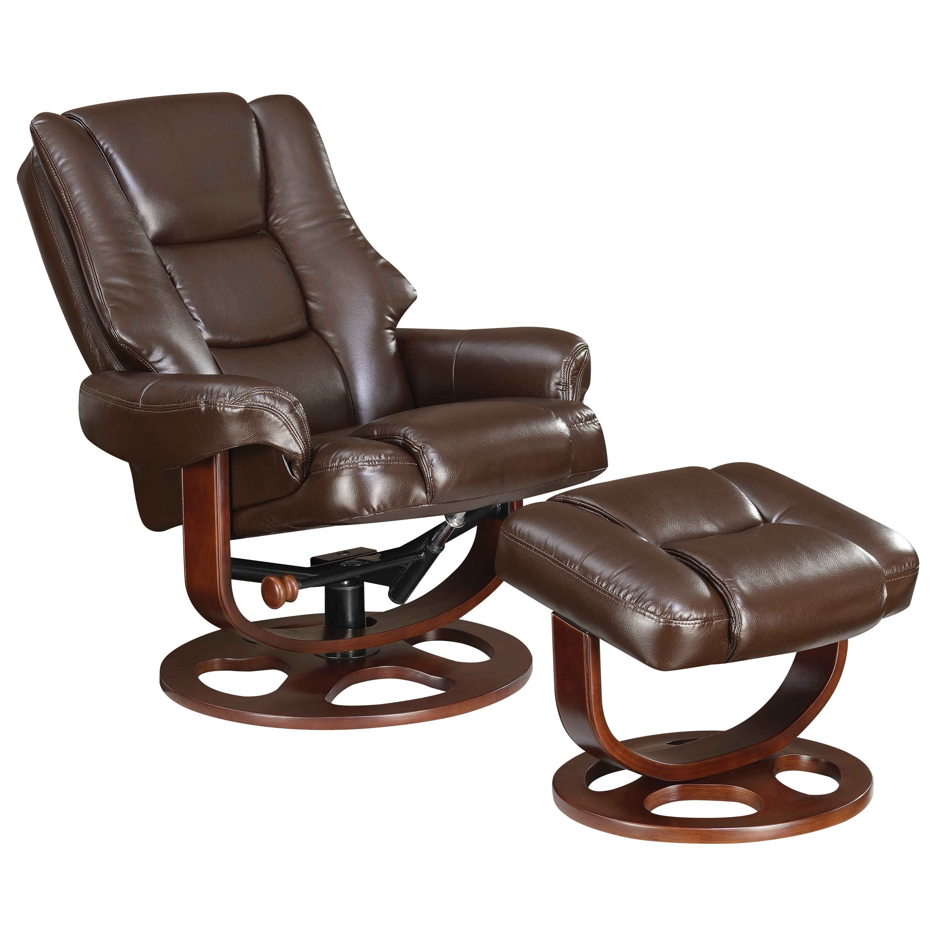 Swivel Recliner Chair & Ottoman Set in Brown Leatherette