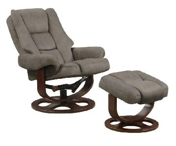 Swivel Recliner Chair & Ottoman Set in Grey Microfiber