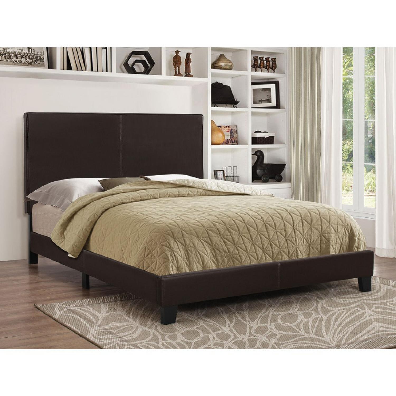 Coaster Fine Furniture Dark Brown Leatherette Queen Bed-1