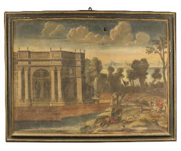 18th Century Italian Painting Landscape w/ Architecture