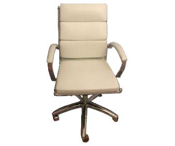 White Faux Leather Office Chair