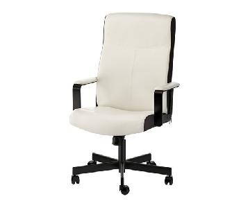 Ikea White & Black Leather Office Chair