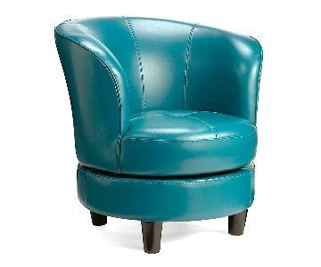 Grandin Road Modern Round Robin's Egg Blue Swivel Chair