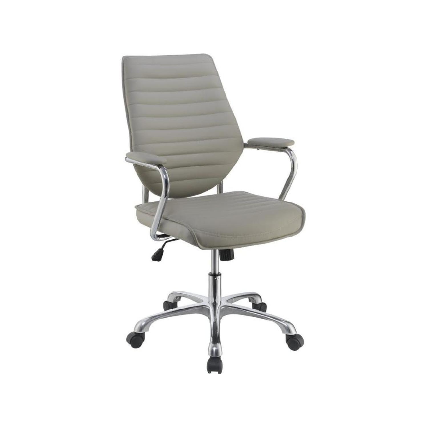 Modern Office Chair in Metal Frame & Grey Leatherette