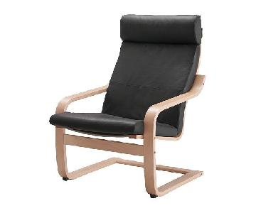 Ikea Poang Black Leather Chair
