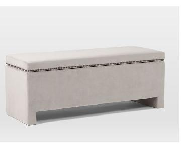 West Elm - Velvet Grey Storage Bench