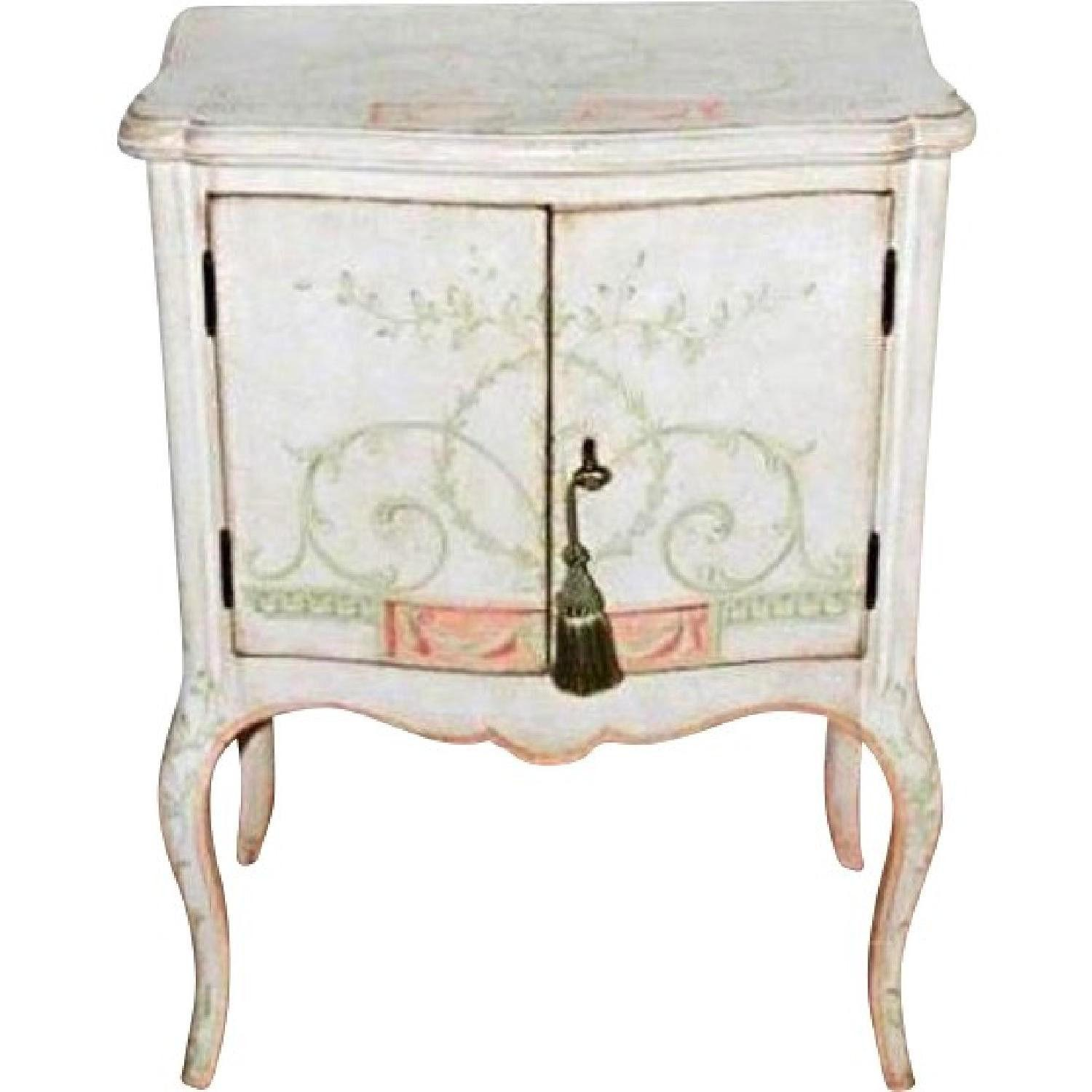 Custom Handpainted White Venetian Side Cabinet/Nightstand