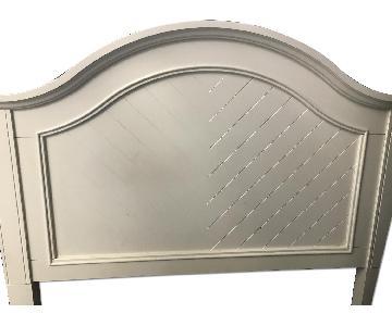 Full-Size White Wooden Bed Frame