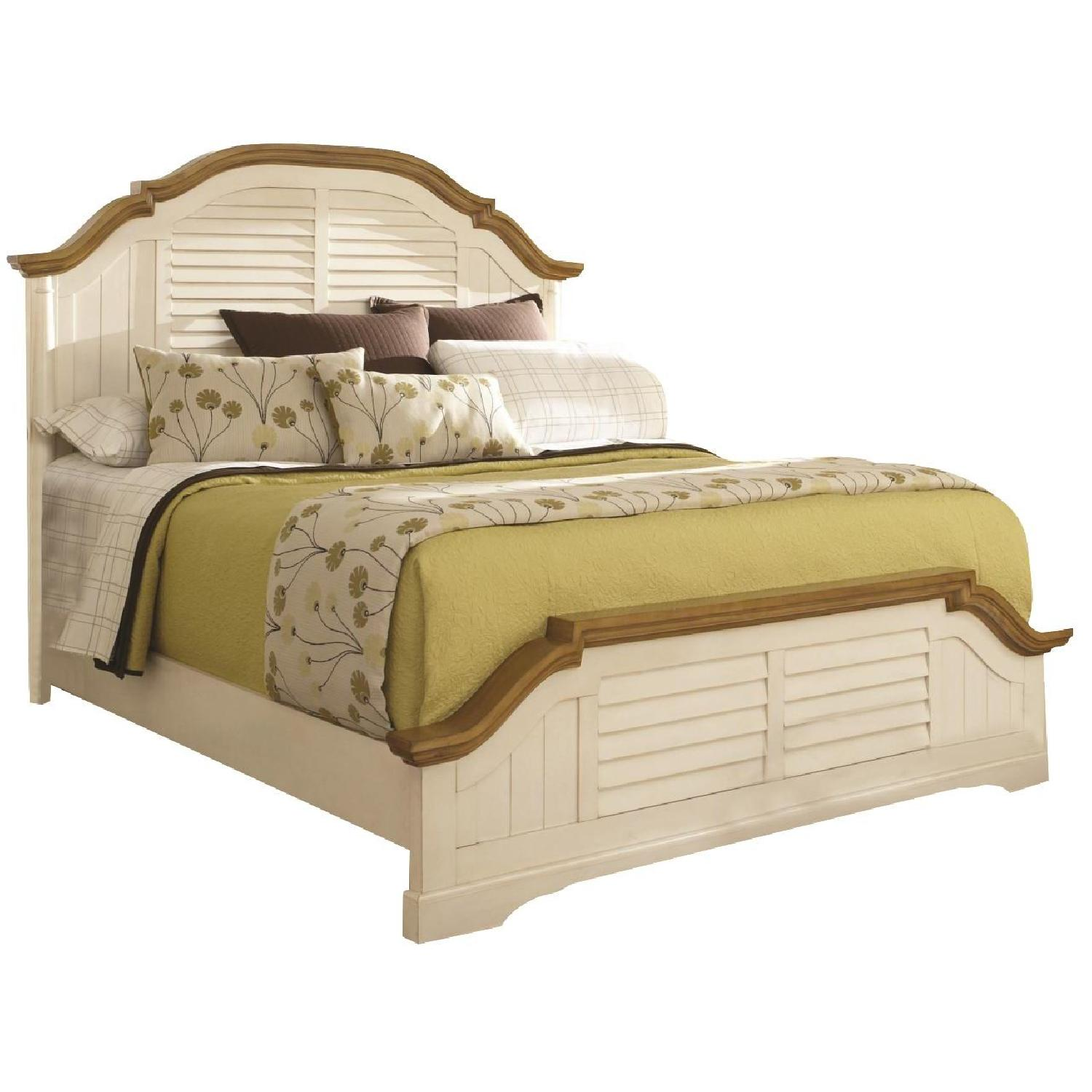 Cottage Style Bed in Buttermilk Finish w/ Arched Headboard