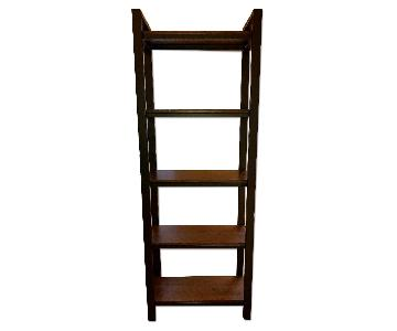 Crate & Barrel Pilsen Graphite Bookcase w/ Walnut Shelves