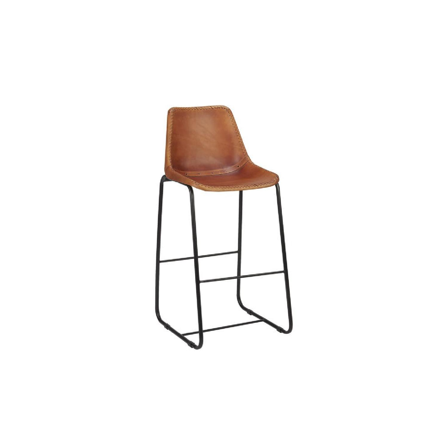 CB2 Roadhouse Leather Stool ...
