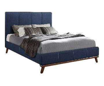 Mid Century Style King Platform Bed in Blue Woven Fabric