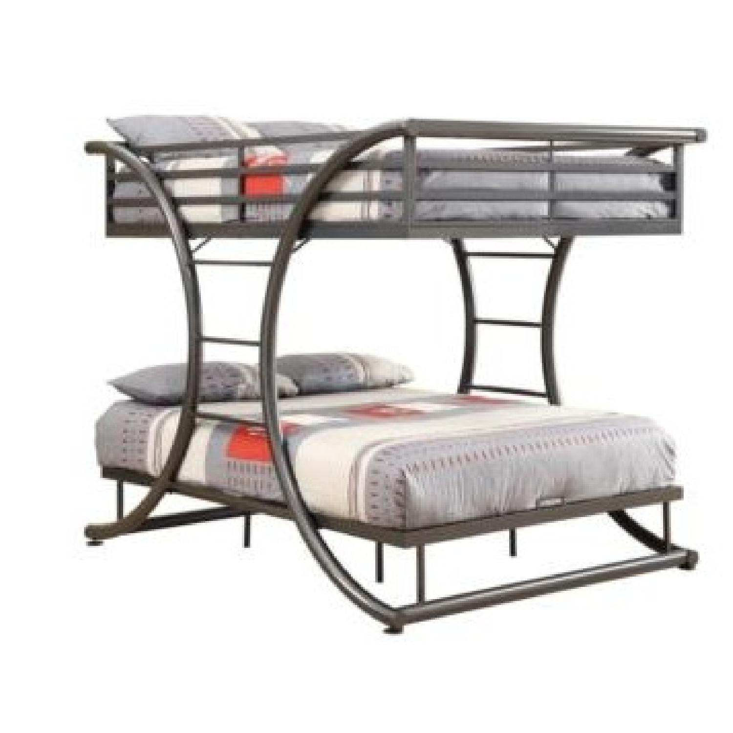 Twin Over Twin Steel Bunk Bed Finished in Gunmetal - image-0
