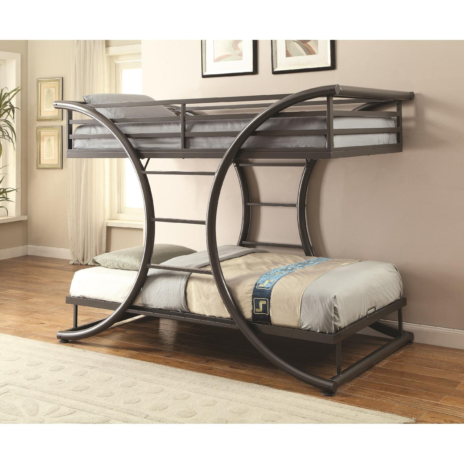 Twin Over Twin Steel Bunk Bed Finished in Gunmetal - image-1