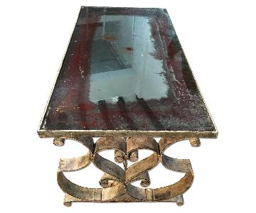 Antiqued Mirrored Top Coffee Table
