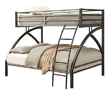 Twin Over Full Steel Bunk Bed in Gunmetal/Silver Finish