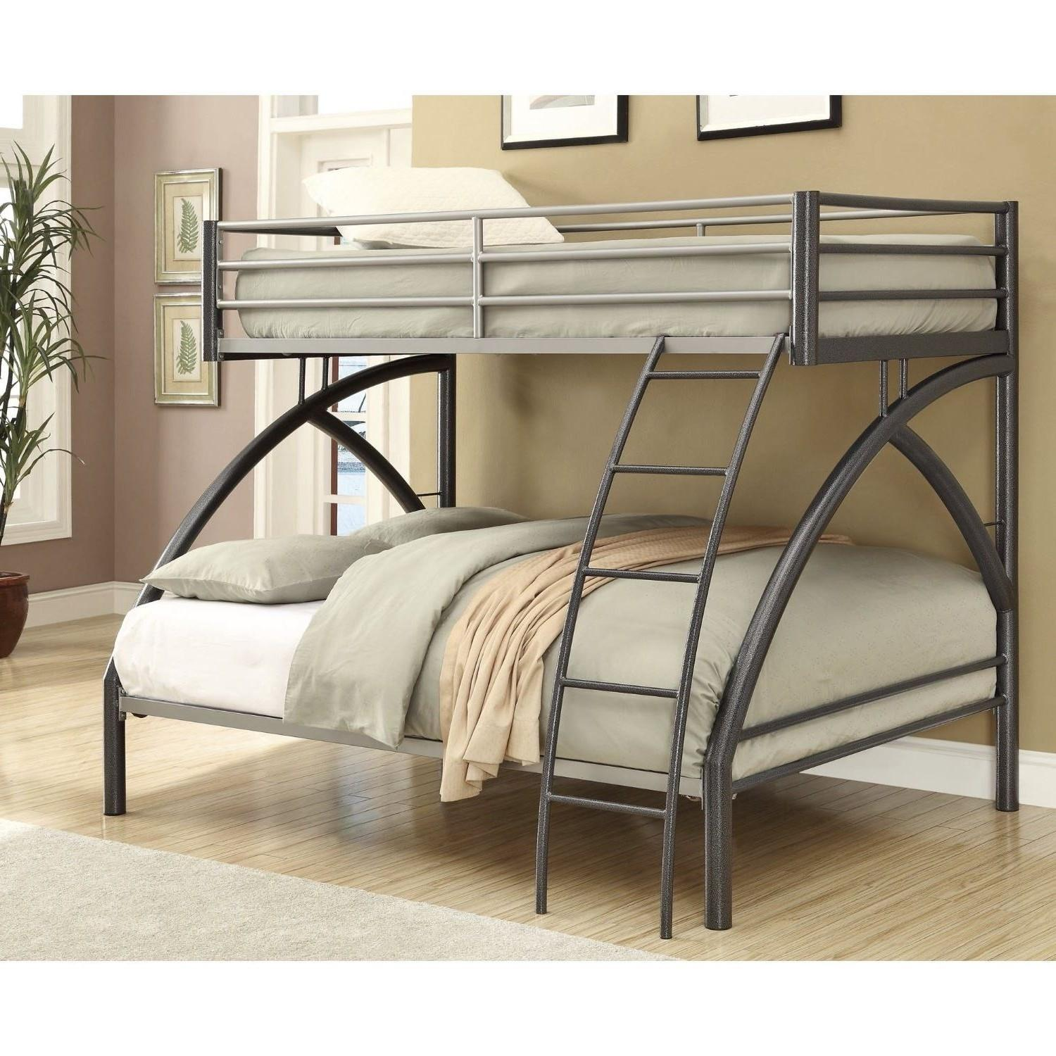 Twin Over Full Steel Bunk Bed in Gunmetal/Silver Finish - image-1