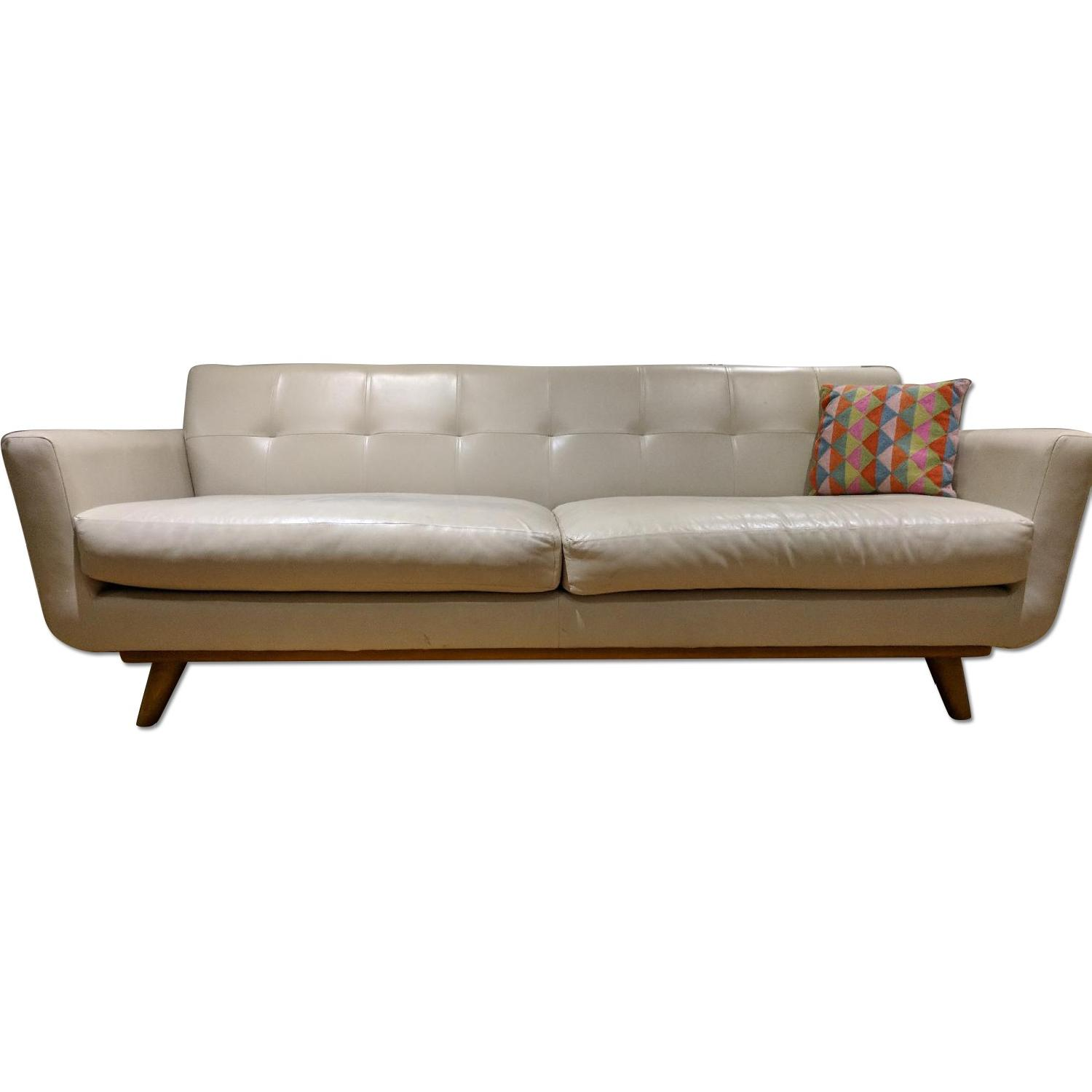 Ivory Leather Sofa