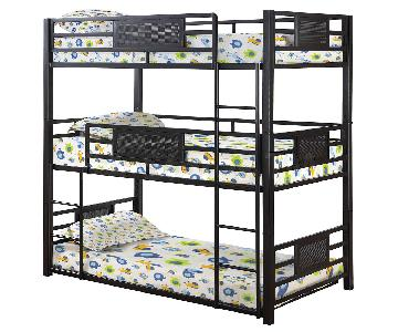 Twin Size Steel Triple Bunk Bed in Dark Bronze Finish