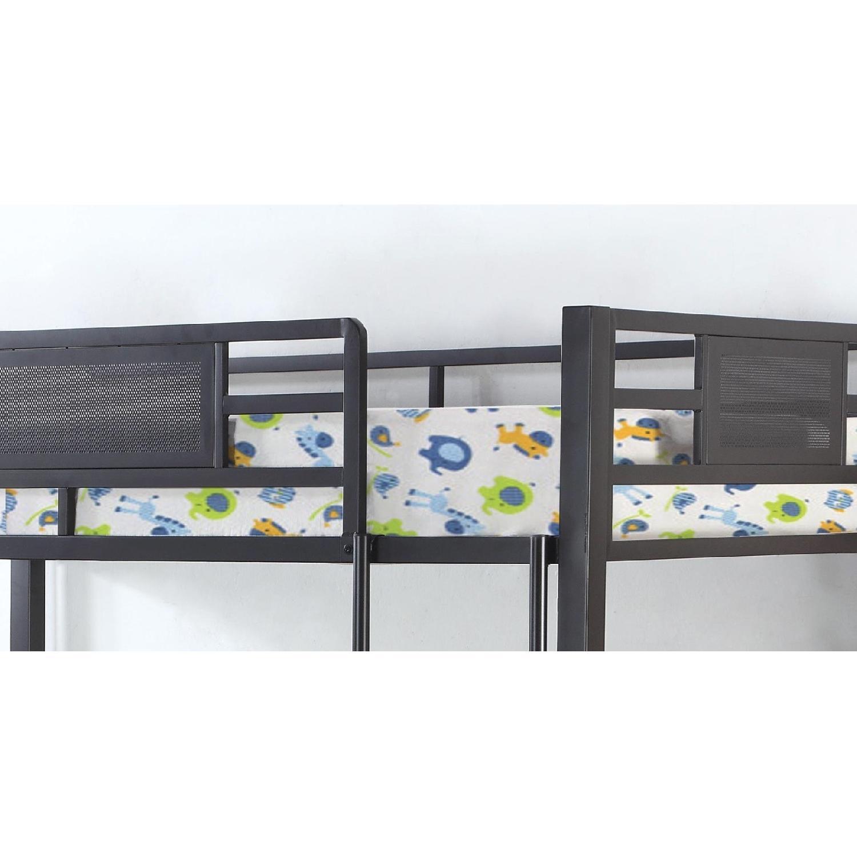 Twin Size Steel Triple Bunk Bed in Dark Bronze Finish - image-2