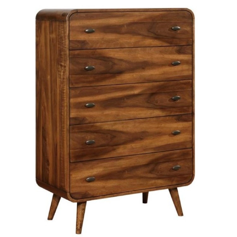 Mid Century Modern Style Chest in Dark Walnut Finish - image-0