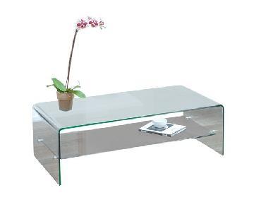 Christopher Knight Ramona Glass Coffee Table w/ Shelf