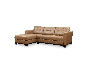 Macy's Martino Leather Chaise Sectional Sofa