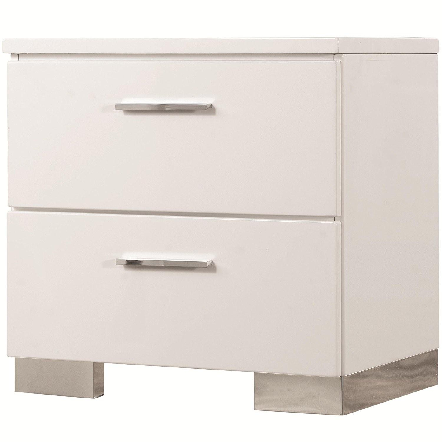 Contemporary Glossy White Nightstand