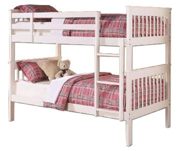 Coaster White Wood Twin/Twin Bunk Bed w/ Build In Ladder