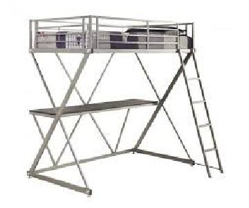Coaster Silver Metal Twin Loft Bed w/ Workstation