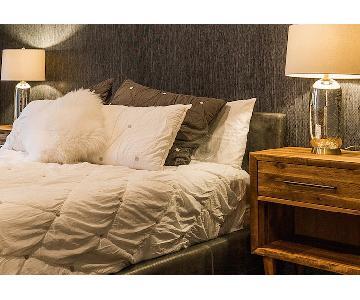 Room & Board Wyatt Queen Leather Bed in Lagoon
