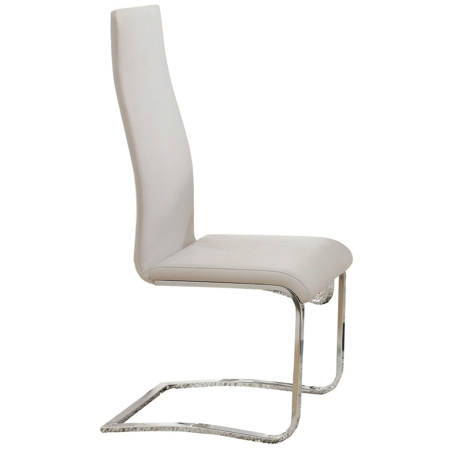 Amazing Modern Faux Leather Dining Chair In White W Chrome Legs Beatyapartments Chair Design Images Beatyapartmentscom
