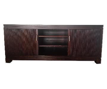 Crate & Barrel Wood Media Console w/ Doors & Shelves