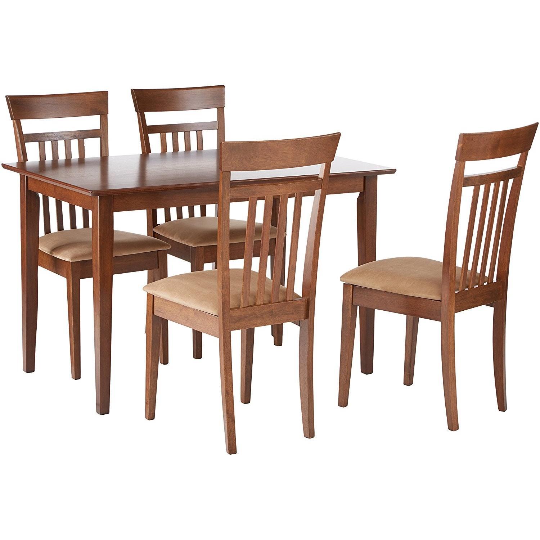 5 Piece Walnut Finish Dining Set w/ 4 Cushioned Seats