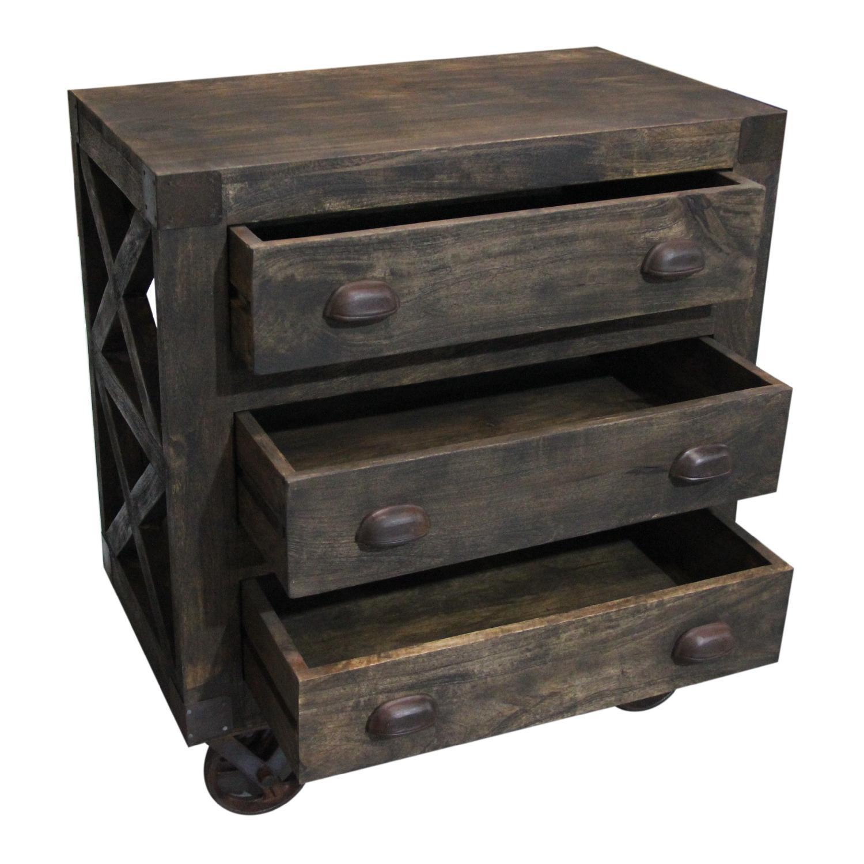 ... Designe Gallerie 3 Drawer Wooden Chest W/ Wheels 1 ...