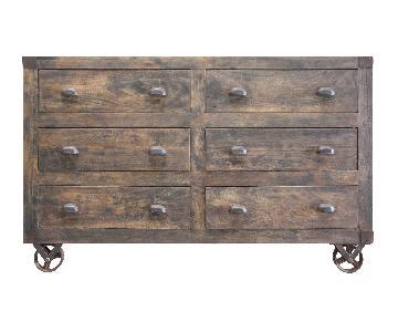 Designe Gallerie Six Drawer Wooden Chest w/ Wheels