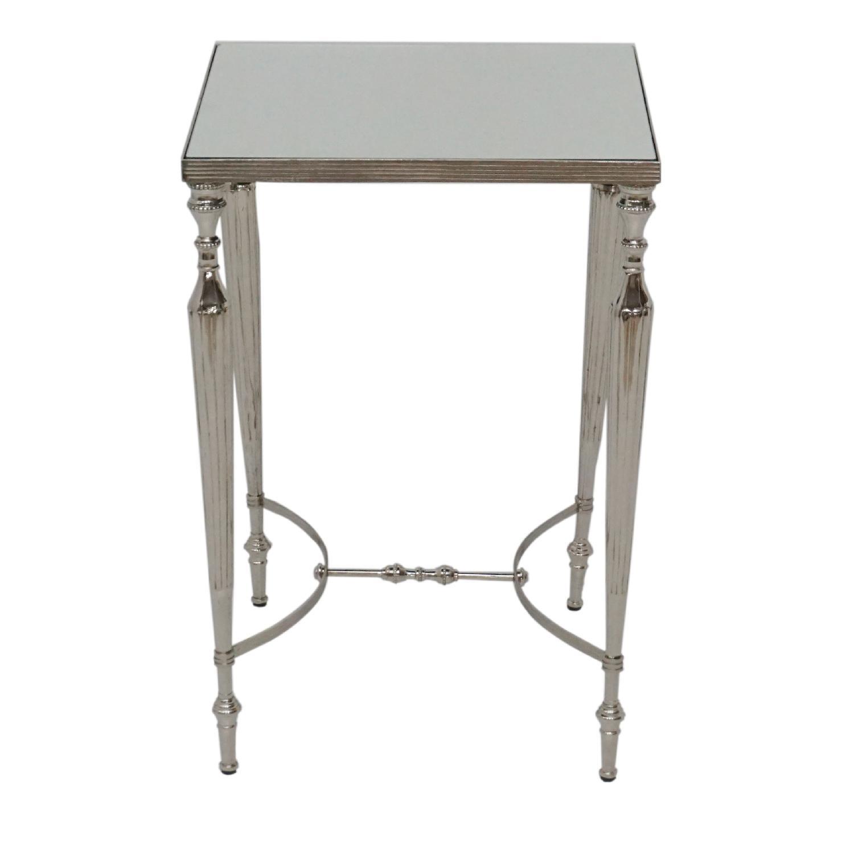 Designe Gallerie Aluminium Square Side Table w/ Glass Top