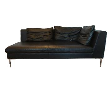 Black Leather Chaise