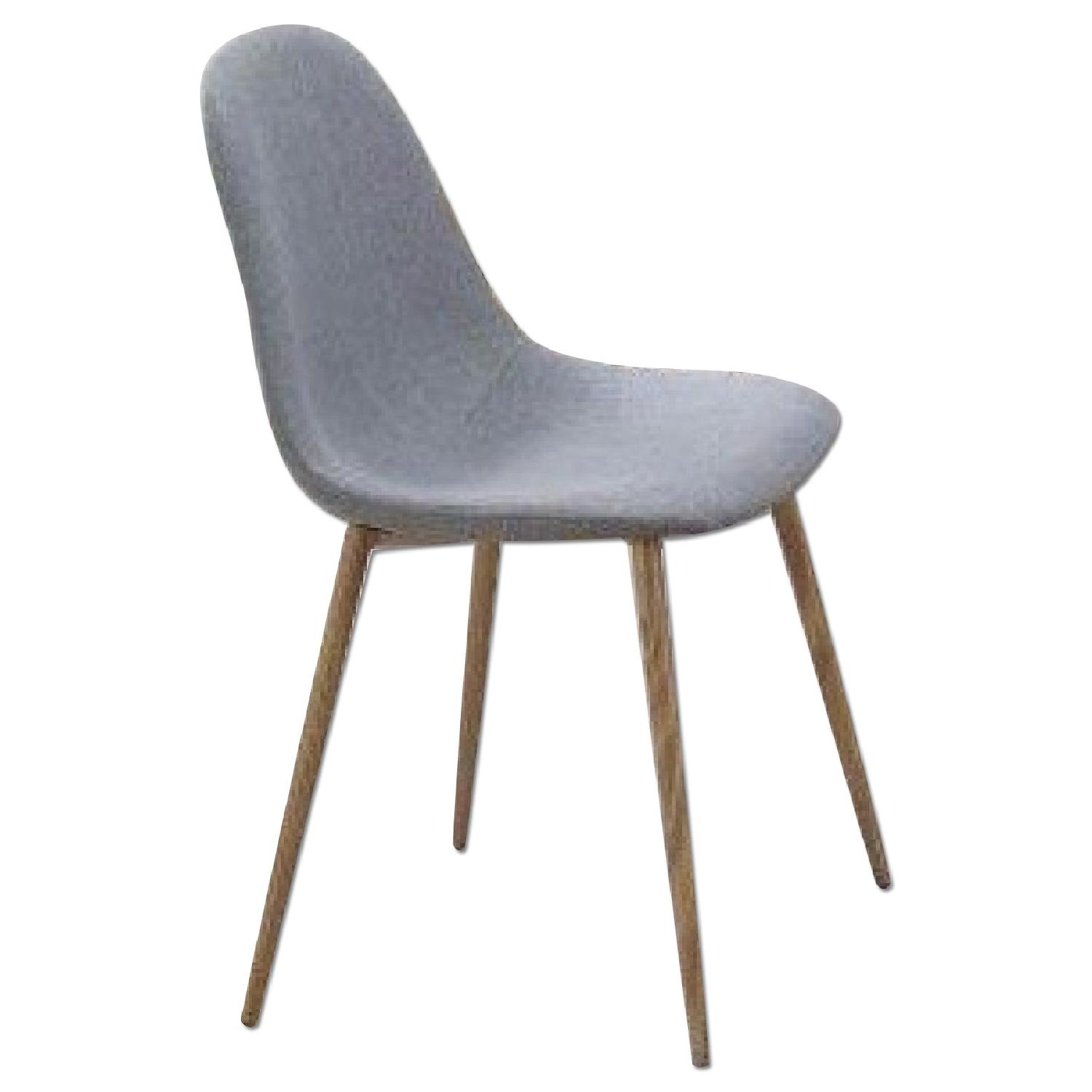 Dining Chair Upholstered in Grey Woven Fabric